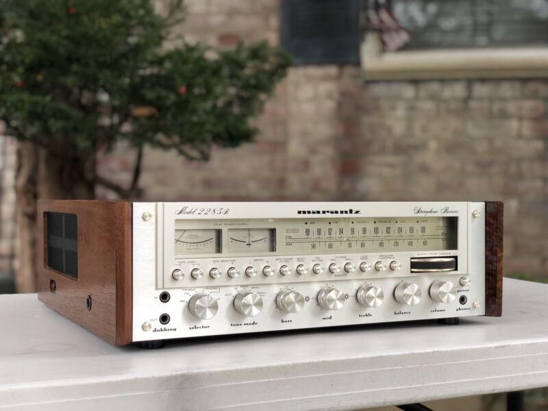 Vintage Marantz Model 2285B w WC-122 Wood Case~ ORIG OWNER ! LED's +SERVICED