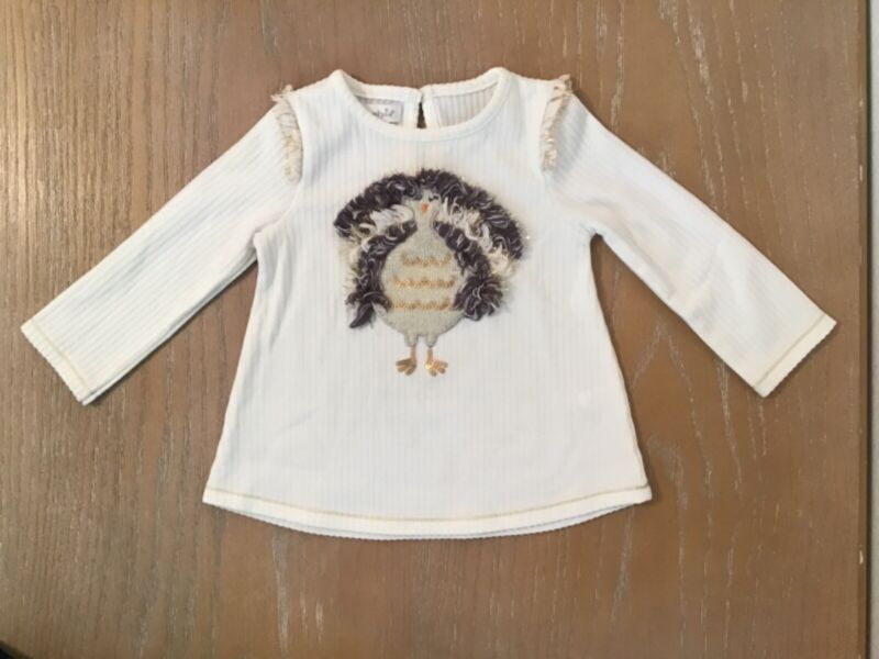 """Infant Girls Mud Pie Top """"Turkey"""" Ivory/Multicolor Size 9-12 Months"""