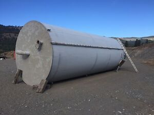 2 huge steel upright tanks