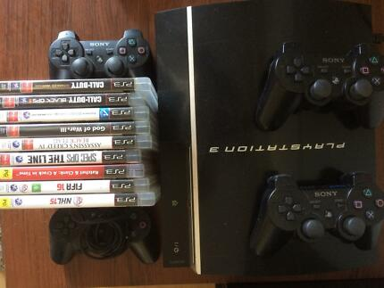 PS3 with games and 4 controllers