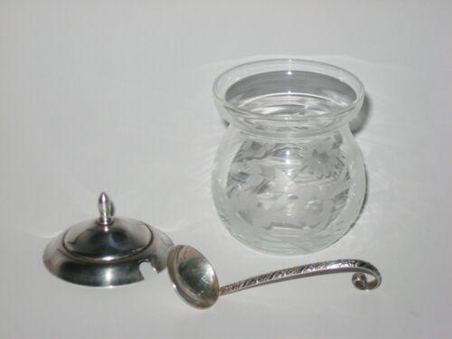 VINTAGE Mid Century STERLING SILVER & ETCHED Floral Glass Sugar Jam JAR POT SET