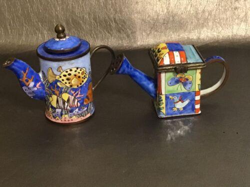 Kelvin Chen & Empress Art Miniature Enameled Teapots Fish & Floral Lot of 2
