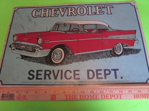 "Vintage 1970s Chevy 18"" x 12"" Bel Air Body Design 1957 Metal Sign Very Good"