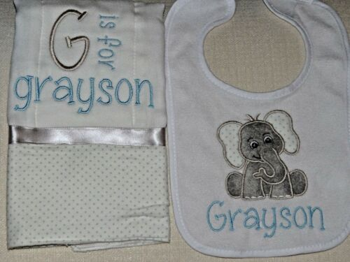 Gray and Blue Personalized Elephant Embroidered Burp Cloth and Bib Set