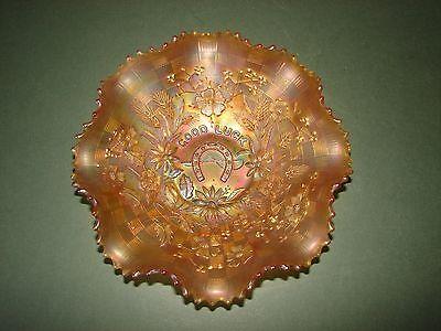 Vintage Northwood Carnival Glass Dish Good Luck Horse Shoe