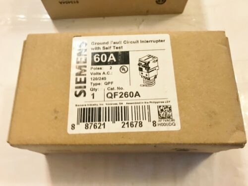 ONE NEW SIEMENS QF260A 60A CIRCUIT BREAKER GROUND FAULT SELF TEST 2P BEST PRICE