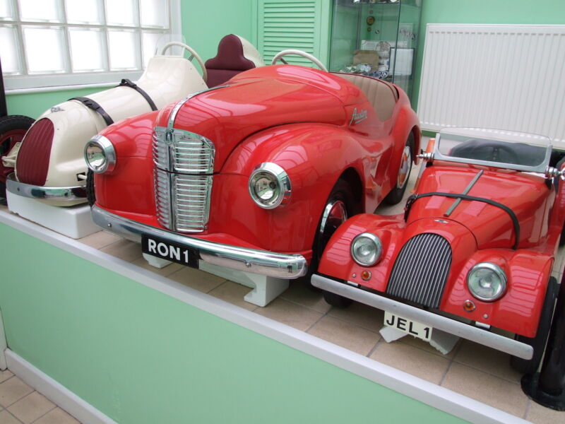 "Austin Pathfinder, J40 and Morgan pedal cars (as featured in the book ""Children's Automobile"" by G.G. Weiner)"