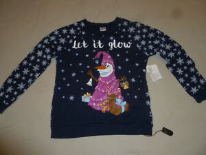 NEW W TAG DISNEY OLAF LIGHT UP CHRISTMAS SWEATER SWEATSHIRT SIZE M NWT XMAS UGLY