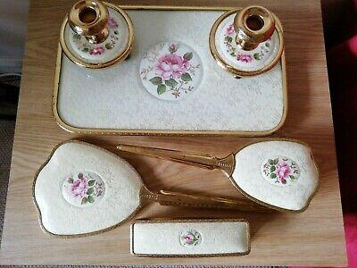 Pretty Vintage Lace/Rose Dressing Table Set
