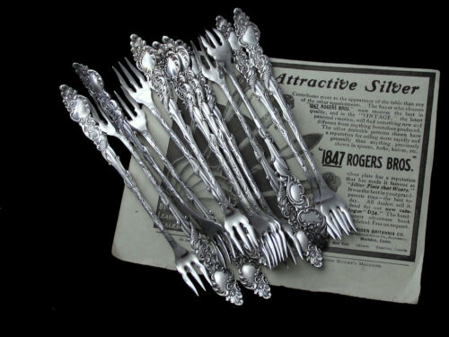 """COLUMBIA 1847 ROGERS ART NOUVEAU OYSTER COCKTAIL FORK 5 3/4""""-PRICE PER PC 🌎"""