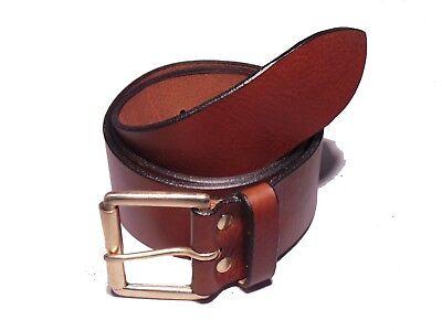 Brass Roller 2 Inch Leather Jean Belt Waist Size Mens Ladies Black Brown Tan