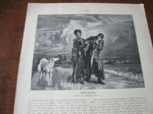 1909 Art Print - LOVER w WOLFHOUND BORZOI Dog LOVE ROMANCE