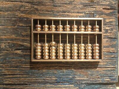 SMALL VINTAGE SOLID BRASS DECORATIVE HANDHELD ABACUS