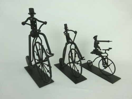 High Wheel / Penny Farthing Bicycle Riding Family ~ Lot of 3 Metal Sculptures ~
