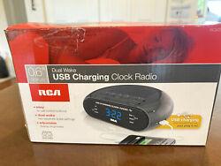 RCA Dual Wake Clock Radio with USB Charging   .6 Display   Easy   RC207