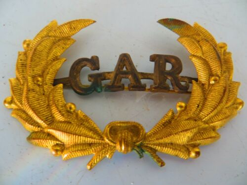 GAR GRAND ARMY OF THE REPUBLIC ORIGINAL BRASS LAUREL WREATH CIVAL WAR HAT PIN