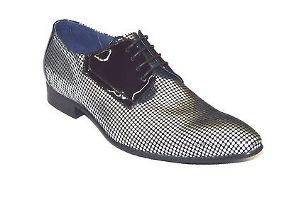 Mens ZOTA Shoes  Unique Leather Exotic Sharp Toe Polka Dots Black Silver HFD1-L2 - Exotic Mens Shoes
