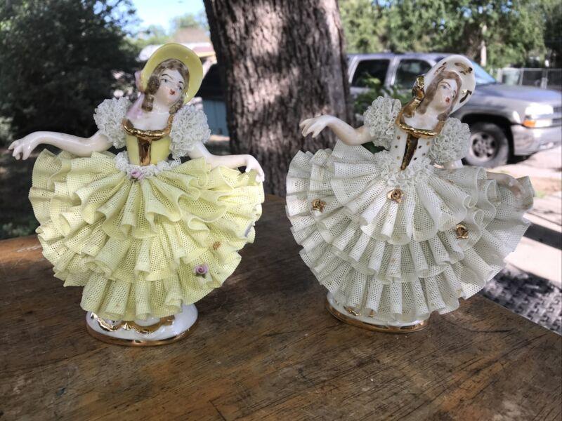 Dresden Lace Figure Figurine Lot Of 2