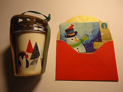 STARBUCKS PENGUIN CHRISTMAS ORNAMENT NIB + holiday gift card $0 value (Penguin Holiday Card)