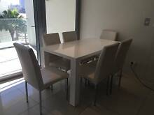 Contemporary white dining table and 6 faux leather chairs Balmain Leichhardt Area Preview