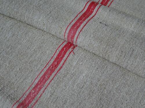 Antique European Feed Sack GRAIN SACK Red Stripes 9664