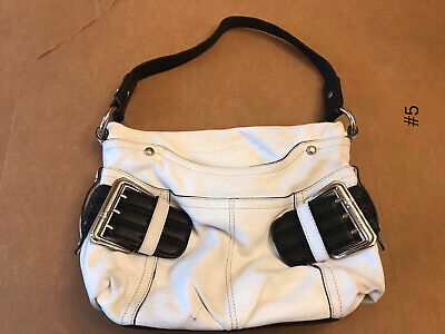 B. Makowsky White Leather Hobo Handbag with Silver Hardware and Magnetic Closure