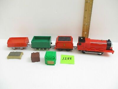 Trackmaster Lot Motorized James Train Engine, Tender, 2 Cars and Cargo Play Set
