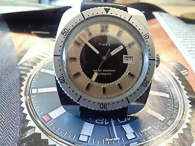 vintage British 1977 timex diver style watch