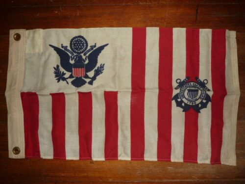 Vintage WWII US Coast Guard Ensign 5 Ships Cutter Colors Flag Paramount Flag Co.