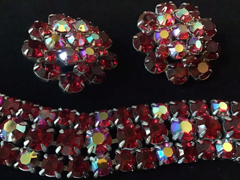 Vintage Red AB Bracelet With Matching Earrings