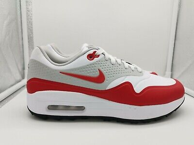 Nike Air Max 1 G Golf Shoes UK 6 White University Red AQ0863-100