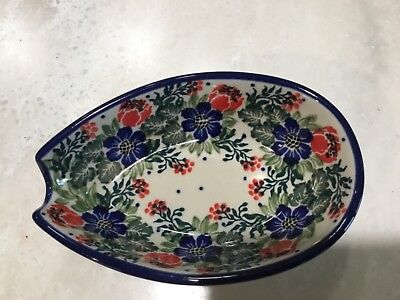 NEW C.A. POLISH POTTERY SPOON REST -Garden Party