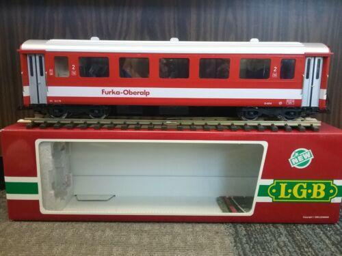 LGB 3067 Rhb Furka Oberalp 2nd Coach Red, Metal wheels and lights D-4214
