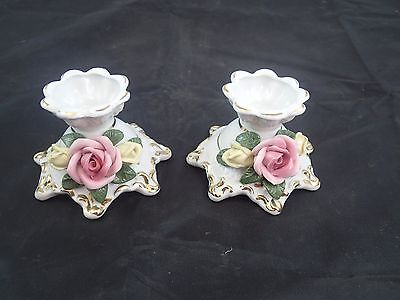 Handarbeit Porcelain Floral Pair of 2 Candle Holders