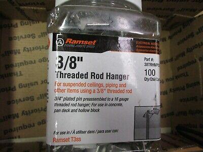 100 Ramset 38 Threaded Rod Hangers. 34 Plated Pin 16 Ga. Hanger. Concrete