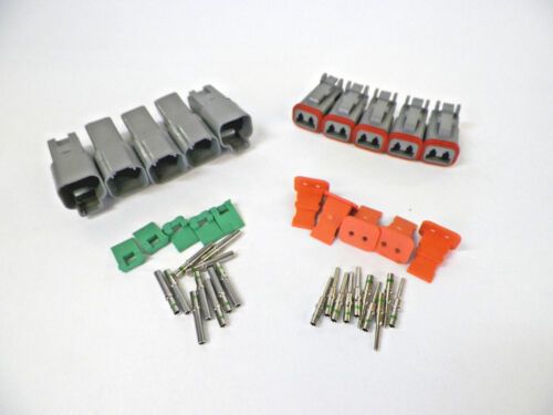 5 sets GRAY Deutsch DT 2-Pin Connectors 14-16-18 ga AWG Solid Contacts