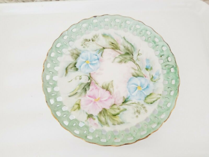 Vintage Reticulated Plate floral pattern
