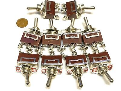 10 Pieces - Red 3 Pin Latching Lock Toggle Switch On Off On 12v 125v C41