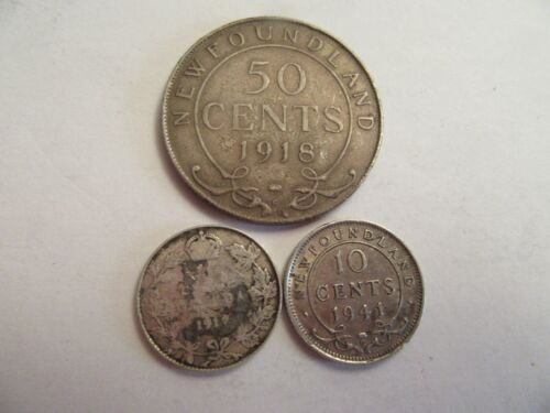 Lot of 3 Canada Silver Coins, 1918 Newfoundland 50c, 1912 10c, 1941 10c