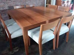 Country Road Design Natural Timber Dining Table With 8 Chairs