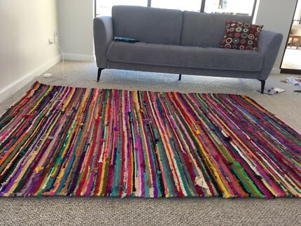 Handwoven rainbow rag rug from Freedom