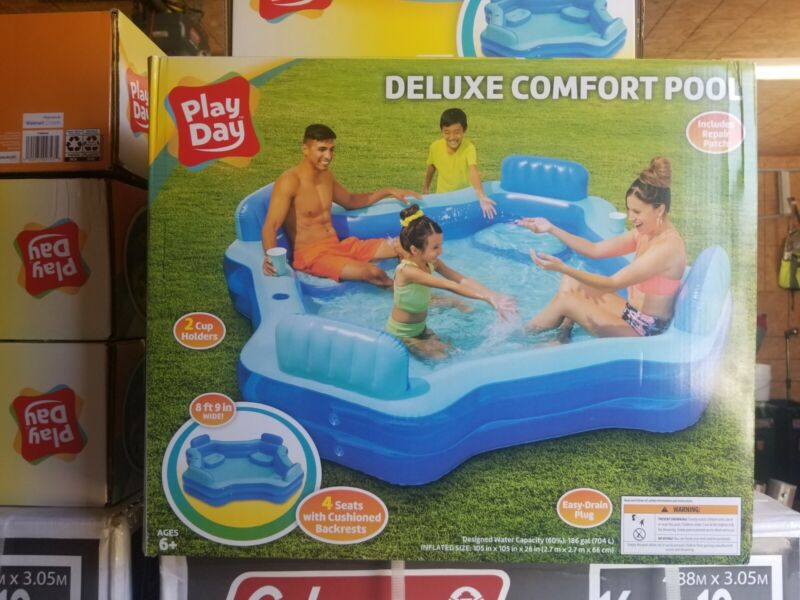 Play Day Inflatable Deluxe Comfort Family Swimming Pool w/ 4 Seats/Backrests