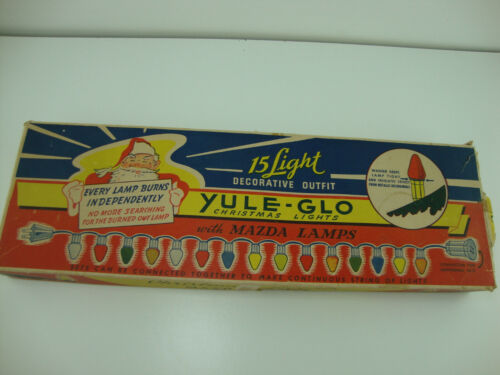 Vintage 1940/50s Yule-Glo 15-Lamp Outdoor Christmas Glass Light Strand-Working