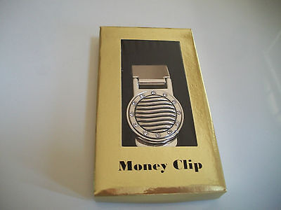 New Silver Finish  Money Clip Mens Wallet Round Light In Box