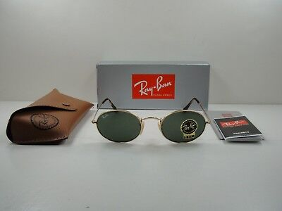 RAY-BAN OVAL FLAT SUNGLASSES RB3547N 001 GOLD FRAME/GREEN CLASSIC LENS (Ray Ban Oval Flat Sunglasses)