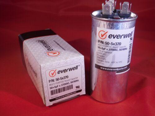 Dual Run  50/5 MFD 370 vac Electric Motor Run Oil Filled Capacitor uf HVAC 50-5