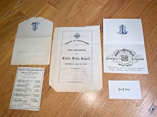 1866 BOSTON PUBLIC LATIN SCHOOL Program - Prize Declamation Lot