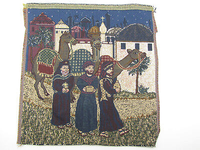 Three Wise Men Magi w Gifts  Tapestry Fabric Pillow Craft Frame Wall Piece 13x13