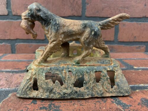 Cast Iron Ash Tray Hunting Setter Dog With Bird In Mouth