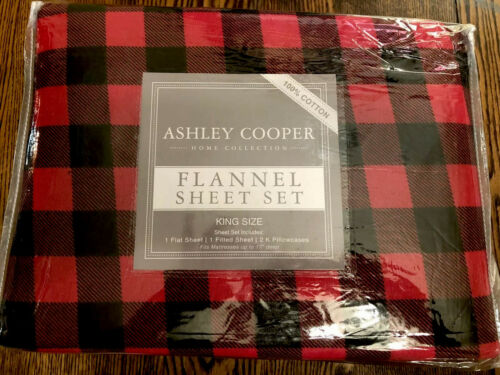 Flannel Sheet Set King Size Buffalo Check Red Black Bed Chri
